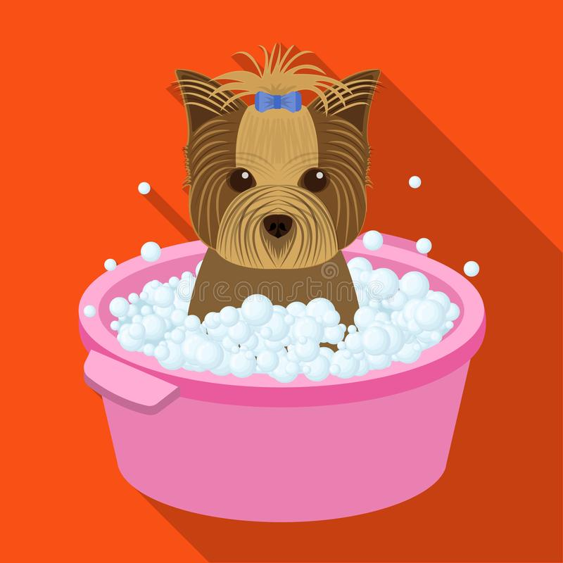 Bathing pet puppy in a bowl. dog,Pet,dog care single icon in flat style vector symbol stock illustration web. Bathing pet puppy in a bowl. dog,Pet,dog care stock illustration