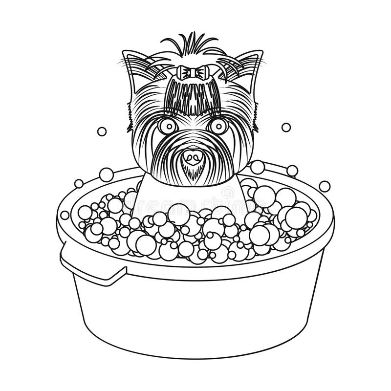 Bathing pet puppy in a bowl. dog,Pet,dog care single icon in outline style vector symbol stock illustration web. Bathing pet puppy in a bowl. dog,Pet,dog care royalty free illustration