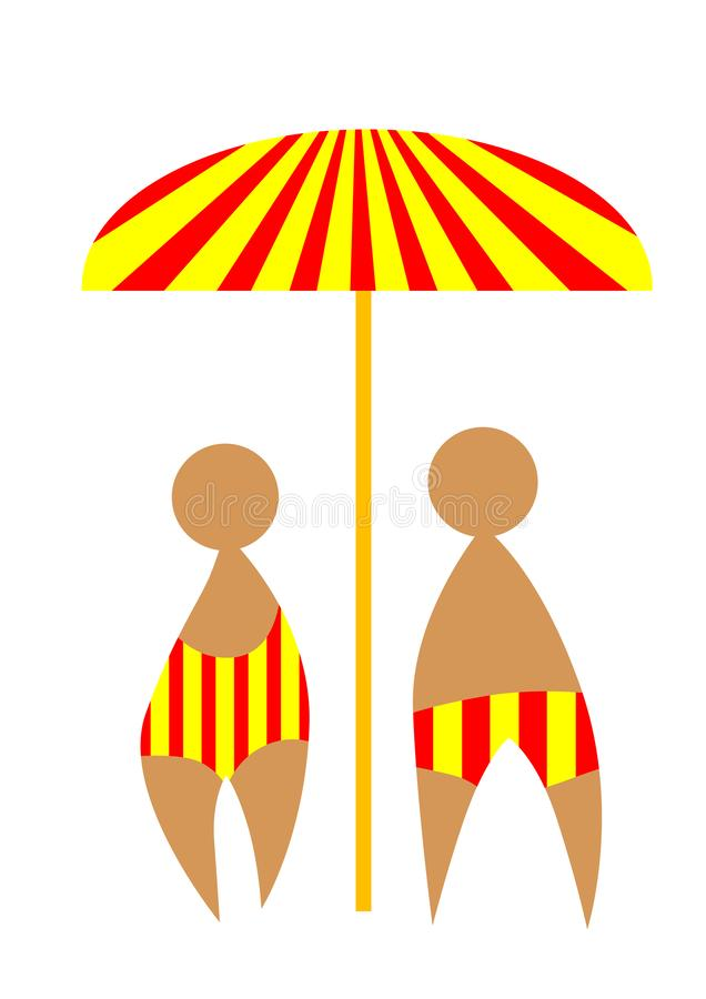 Bathing suits one. Man and woman in bathing suits on vacation in tropical climate stock illustration