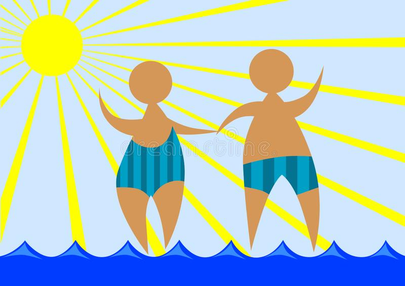 Bathing suits two. Man and woman in bathing suits on vacation in tropical climate stock illustration
