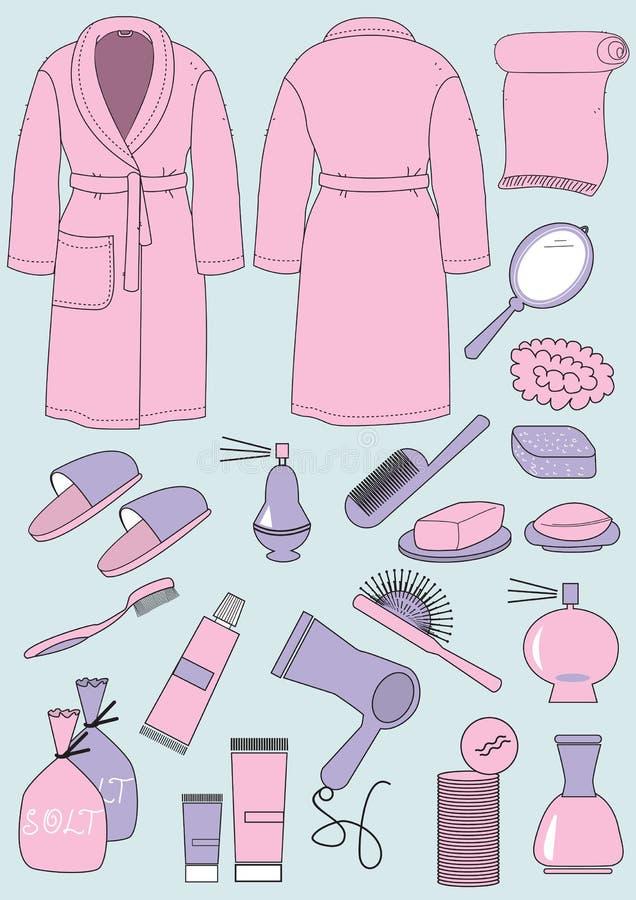 Bathrobe e objetos para o banheiro ilustração do vetor