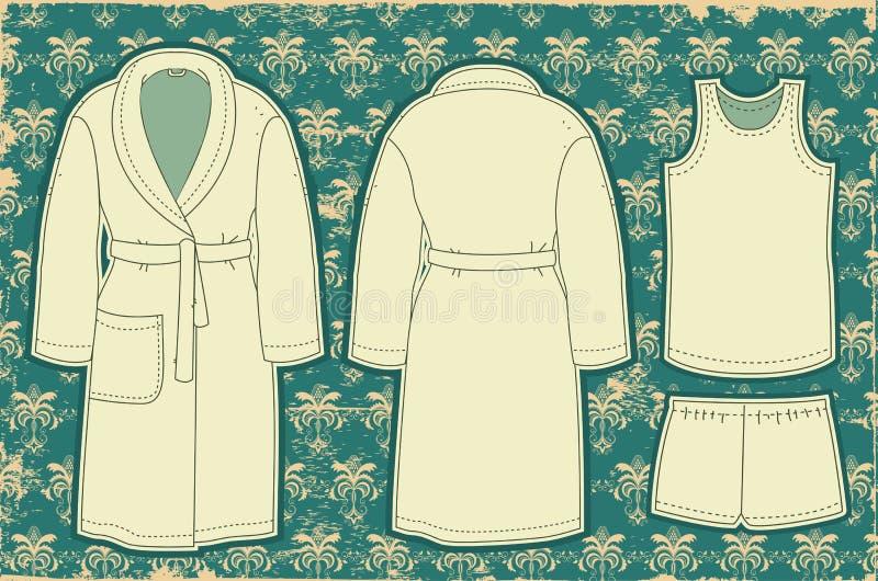 Bathrobe e unredwear para o homem. Ilustração do vetor ilustração royalty free