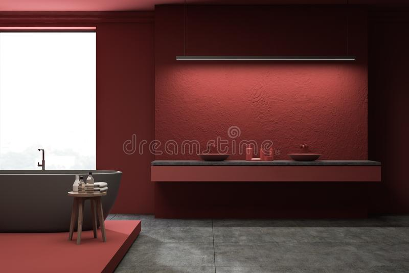Bathroom просторной квартиры красный, двойная раковина и ушат иллюстрация штока