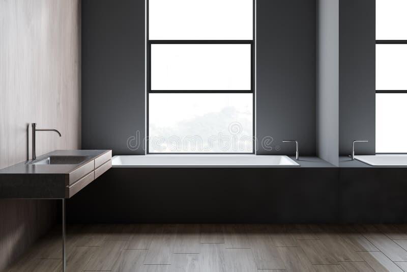 Bathroom просторной квартиры серые и деревянные, ушат и раковина иллюстрация вектора