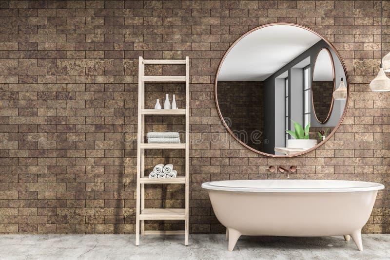 Bathroom, ушат и зеркало кирпича иллюстрация штока