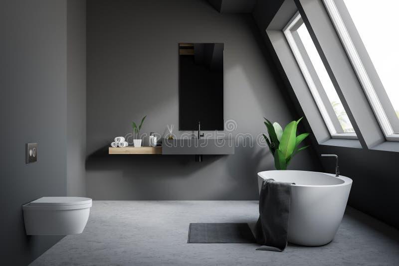 Bathroom чердака серый с туалетом иллюстрация вектора