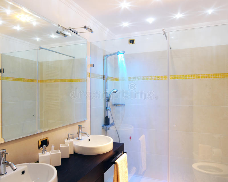 Bathroom. With blu lighting shower royalty free stock image