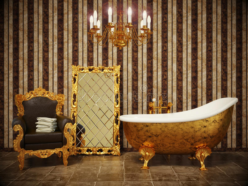 Bathroom. Stylish classic bathroom with striped wallpaper and gold frame royalty free stock image