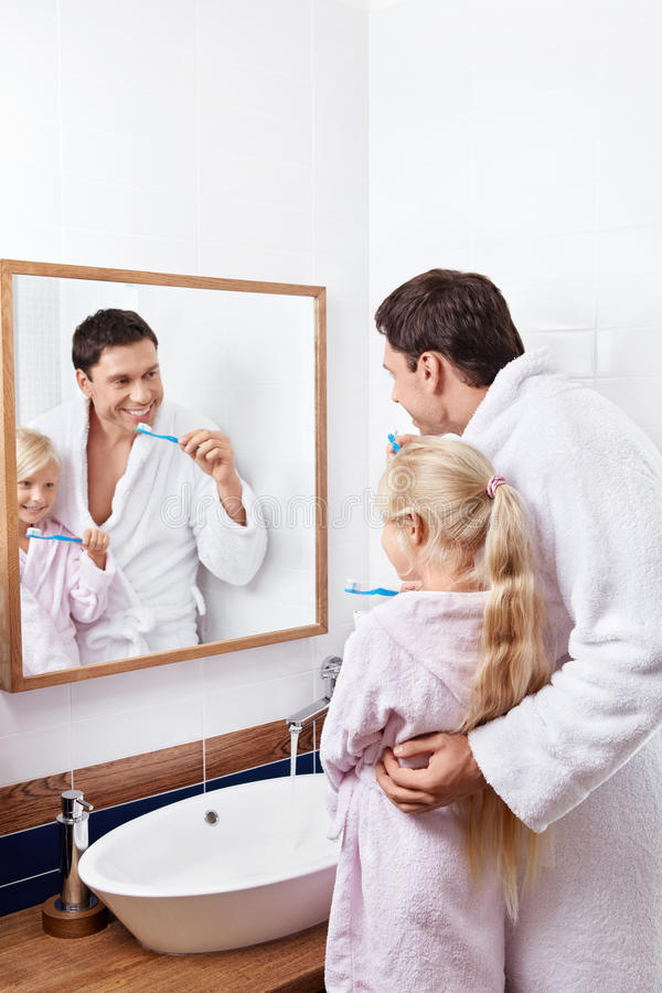 Download In the bathroom stock photo. Image of father, humen, bathrobe - 22111232
