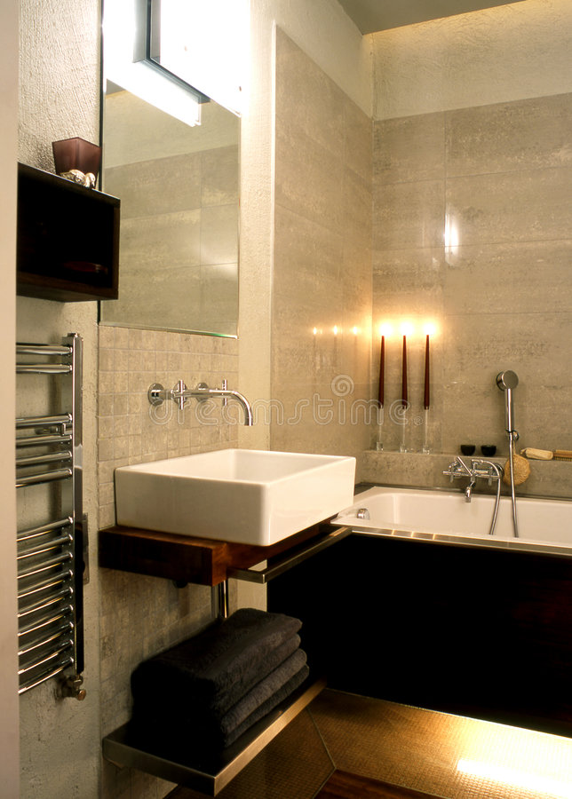 Download Bathroom stock photo. Image of lamp, mirror, shower, radiator - 5117596