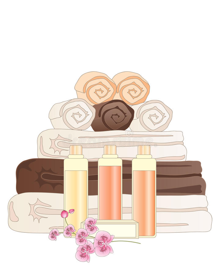 Bathroom accessories. An illustration of a selection of hotel bathroom accessories including towels face cloths soap and shampoo on a white background stock illustration