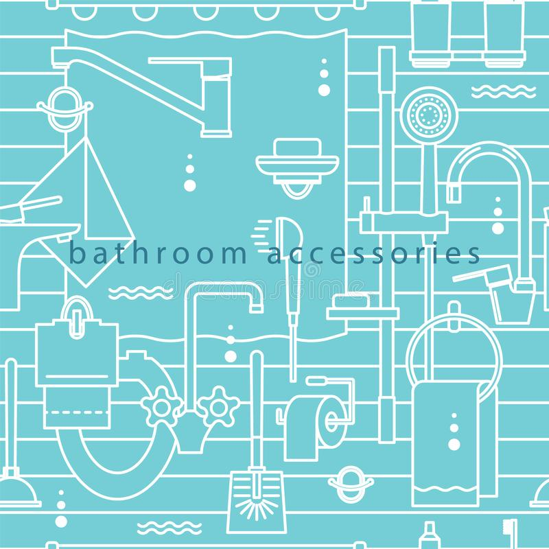 Bathroom accessories.Vector illustration in a modern line style. vector illustration
