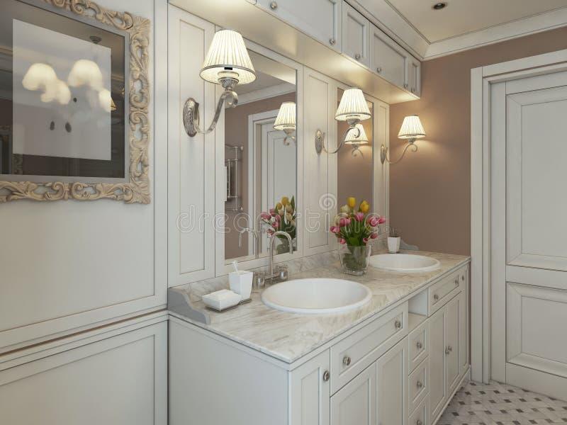 Bathroom Art Deco. 3d render royalty free stock photos