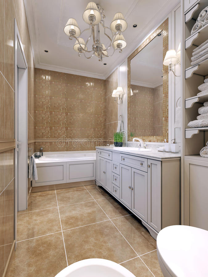 Bathroom art deco style. Classical bathroom with white furniture, a large mirror with mosaic frame. Double sconce above the sink. 3D render stock photography