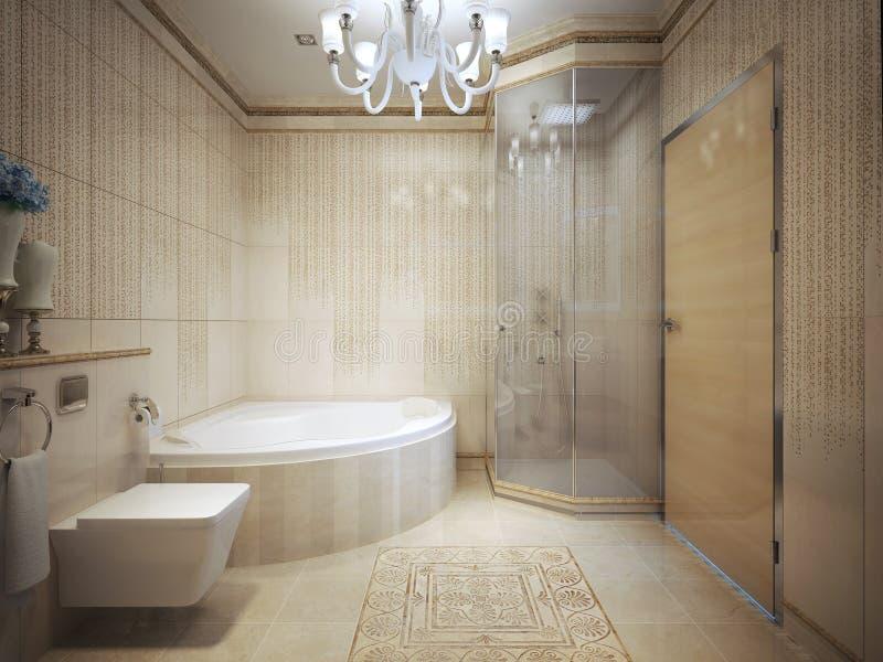 Bathroom Art Deco style. 3d render royalty free stock photo