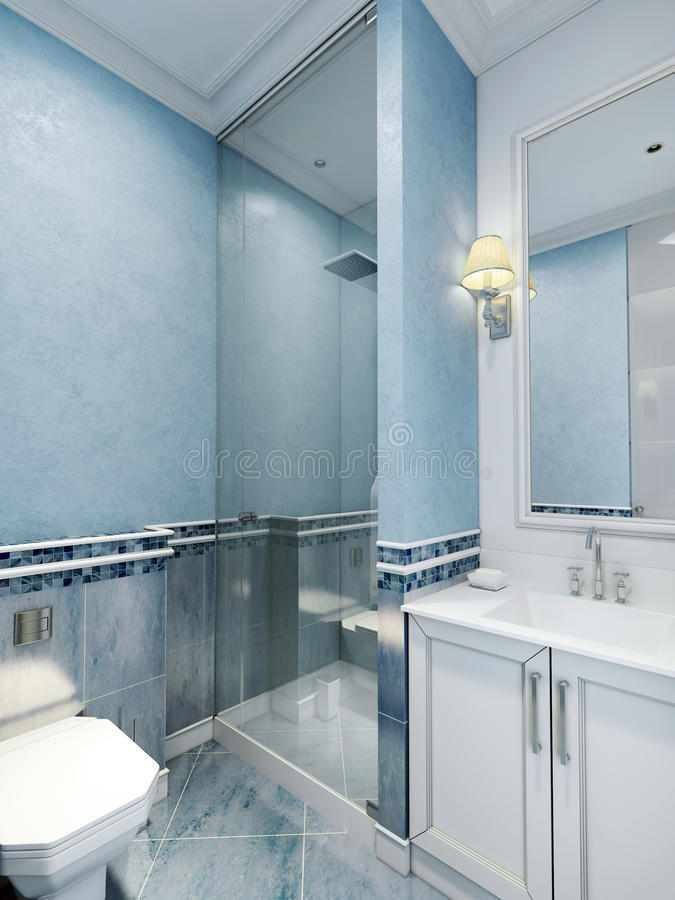 Bathroom art deco style. Design of bathroom with using blue color. White furniture and a large window with a frame, a cozy little sconces. Plastered walls and stock photos