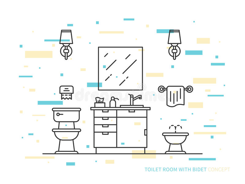 Bathroom with bidet vector line art illustration. Bathroom with sink, bowl, bidet vector line art illustration. Line graphic design of bathroom. Creative concept royalty free illustration