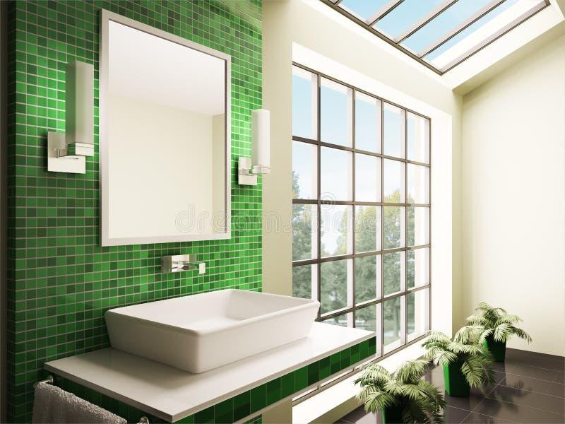 Bathroom with big window interior 3d royalty free illustration