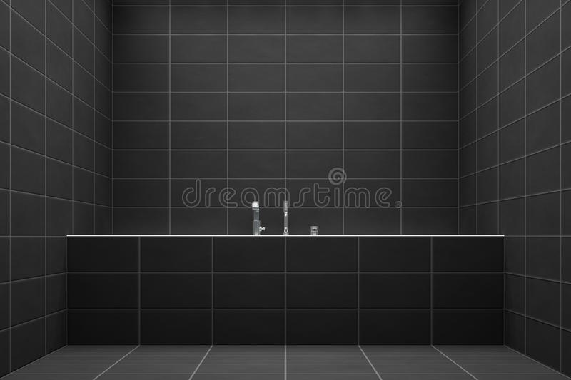 A bathroom with black tiles. 3d illustration of a bathroom with black tiles stock illustration