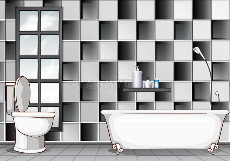 Bathroom with black and white tiles. Illustration royalty free illustration