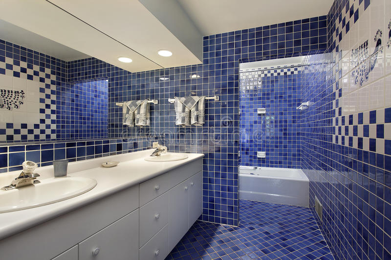 Bathroom with blue tile stock photo