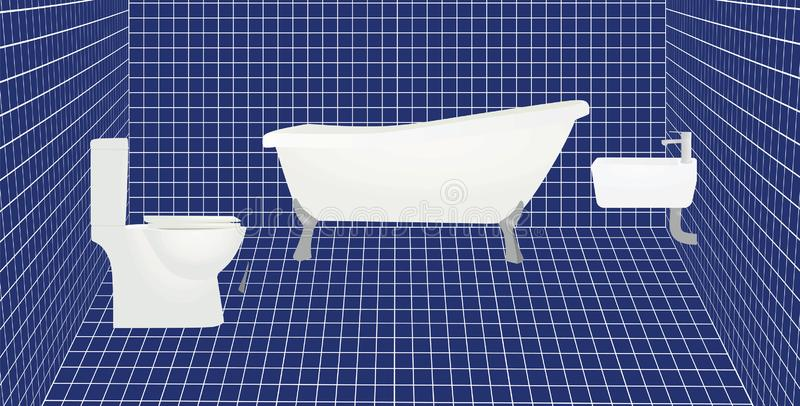 Bathroom with blue tiles. Vector illustration vector illustration