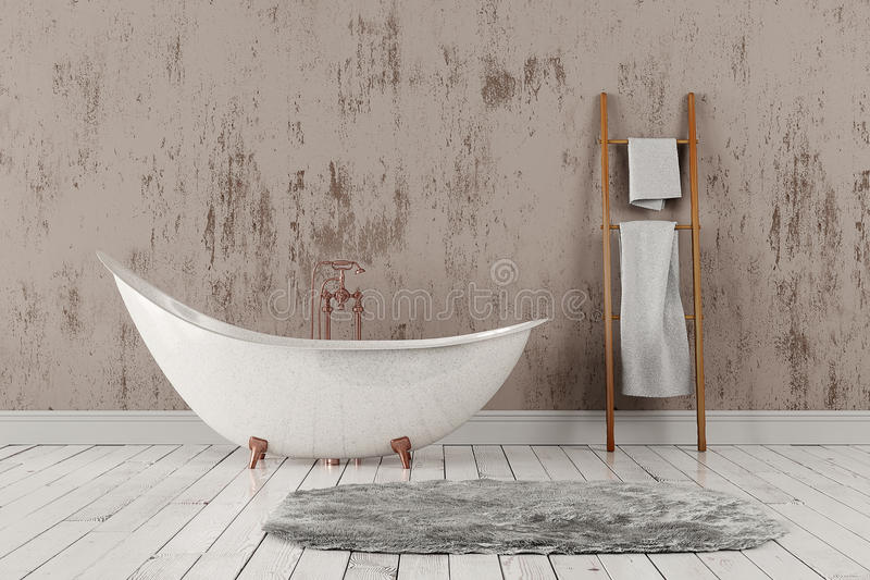 Bathroom with carpet and towels, wooden floor and rough wall. 3D rendering of blank bathroom with wooden towelrail, towels and deep-piled carpet on the wooden stock photo