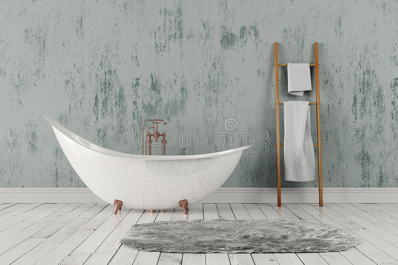 Bathroom with carpet and towels, wooden floor and rough wall. 3D rendering of blank bathroom with wooden towelrail, towels and deep-piled carpet on the wooden stock image