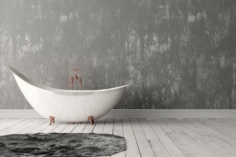 Bathroom with carpet, wooden floor and rough wall. 3D rendering of blank bathroom with deep-piled carpet on the wooden floor in front of painted rough wall royalty free stock images