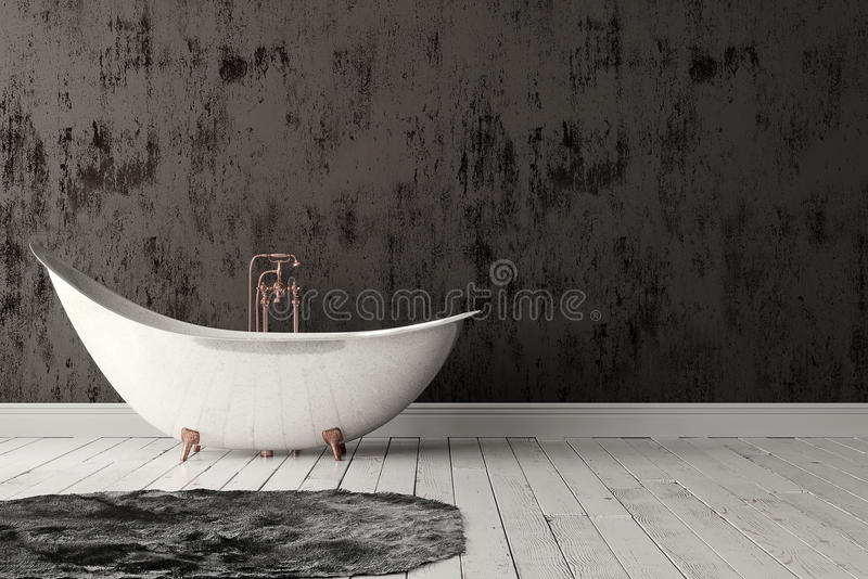 Bathroom with carpet, wooden floor and rough wall. 3D rendering of blank bathroom with deep-piled carpet on the wooden floor in front of painted rough wall stock photo