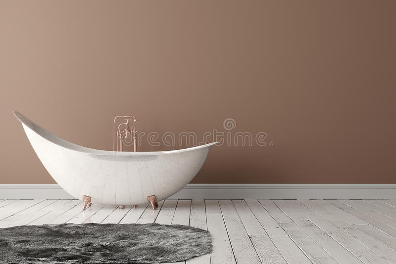 Bathroom with carpet, wooden floor and rough wall. 3D rendering of blank bathroom with deep-piled carpet on the wooden floor in front of painted wall royalty free stock images