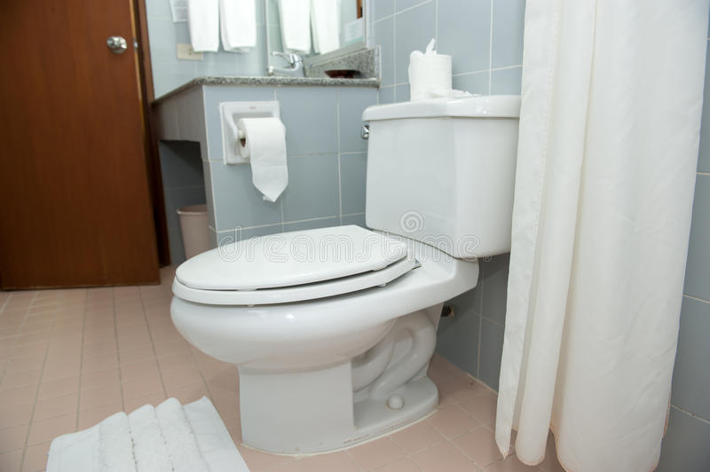 Bathroom. Clean and fresh,with flush toilet And tissues stock photo