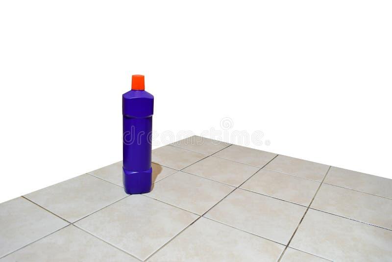 Bathroom cleaning liquid and bathroom floor stock photos