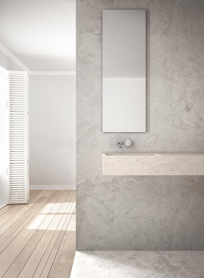 Bathroom close-up, marble wall and parquet floor, minimalistic a. Rchitecture, white and gray interior design vector illustration