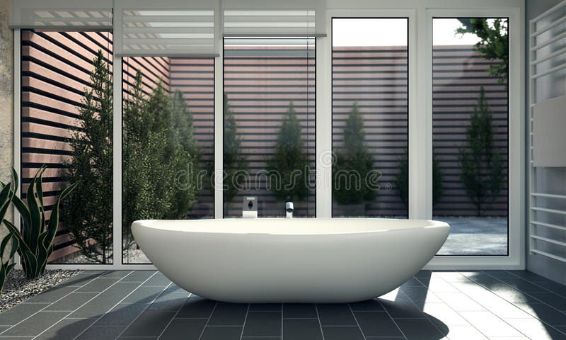 Download Bathroom with Courtyard stock illustration. Image of ceramic - 34415020