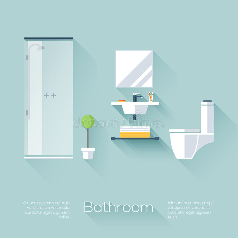 Free Bathroom Cover With Shower, Sink And Toilet. Flat Style With Long Shadows. Modern Trendy Design. Stock Photography - 47432322