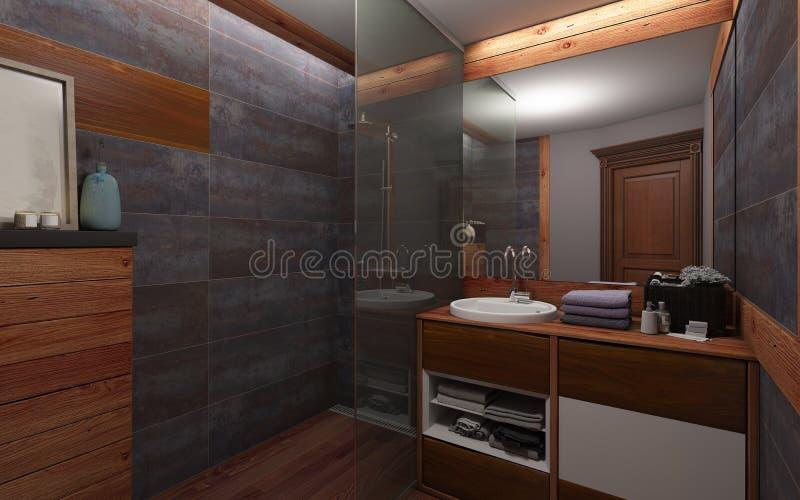 Bathroom In Dark Color And Wood stock photos