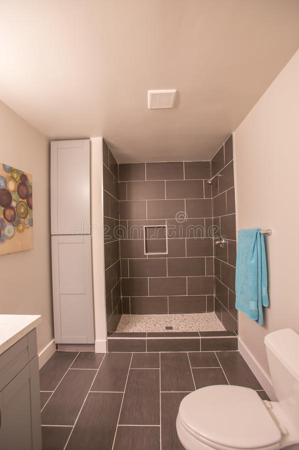 Bathroom With Dark Tile And Shower Stall Stock Image - Image of ...