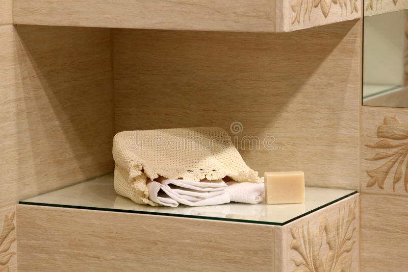 Bathroom decoration with towels. Bathroom decoration with soap and towels royalty free stock image