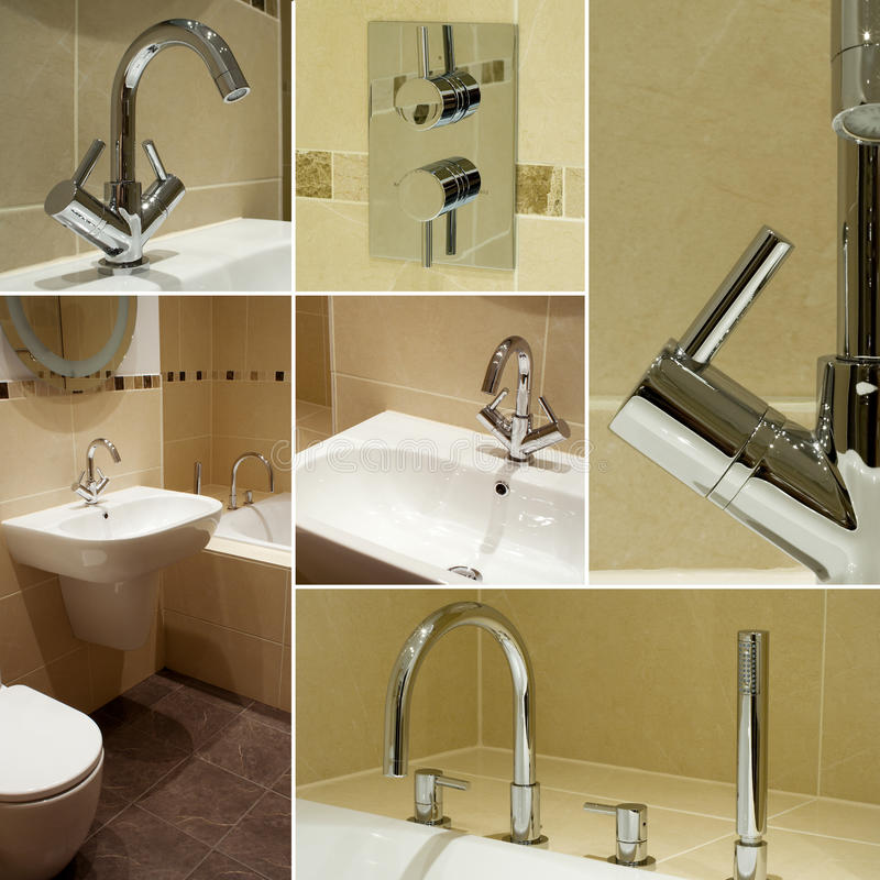 Bathroom details collage. Collage of images showing details of a modern, contemporary designer bathroom suite royalty free stock image