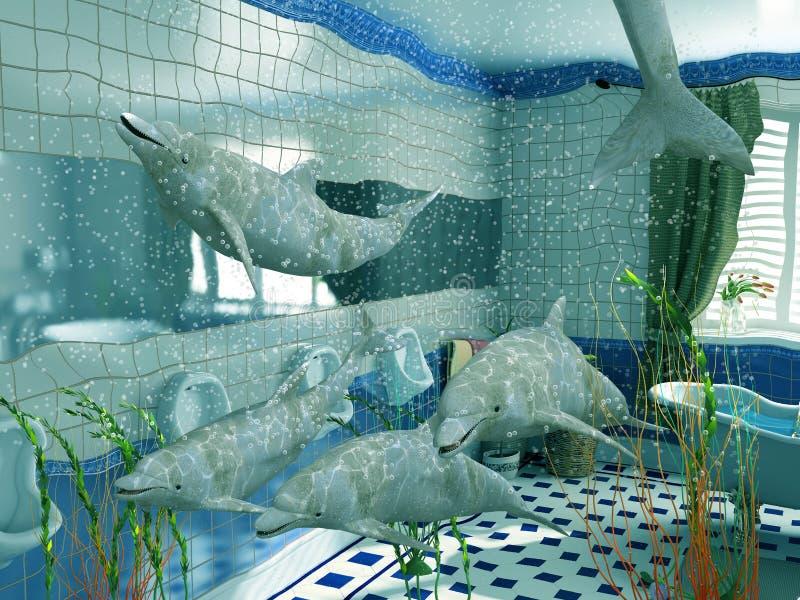 Download Bathroom dolphins stock illustration. Illustration of architecture - 4074822