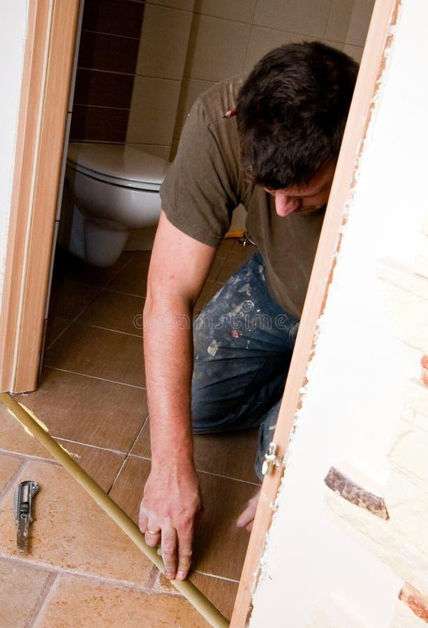 Bathroom door renovation stock photography