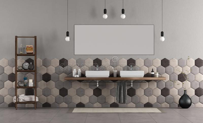 Bathroom with double sink and hexagonal tiles. Bathroom withdouble sink on wooden shelf and hexagonal tiles - 3d rendering stock illustration