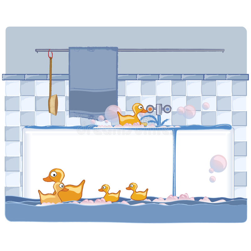 Download Bathroom with ducks stock illustration. Illustration of blue - 7516222