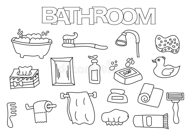 Bathroom Elements Hand Drawn Set. Coloring Book Template. Outline ...