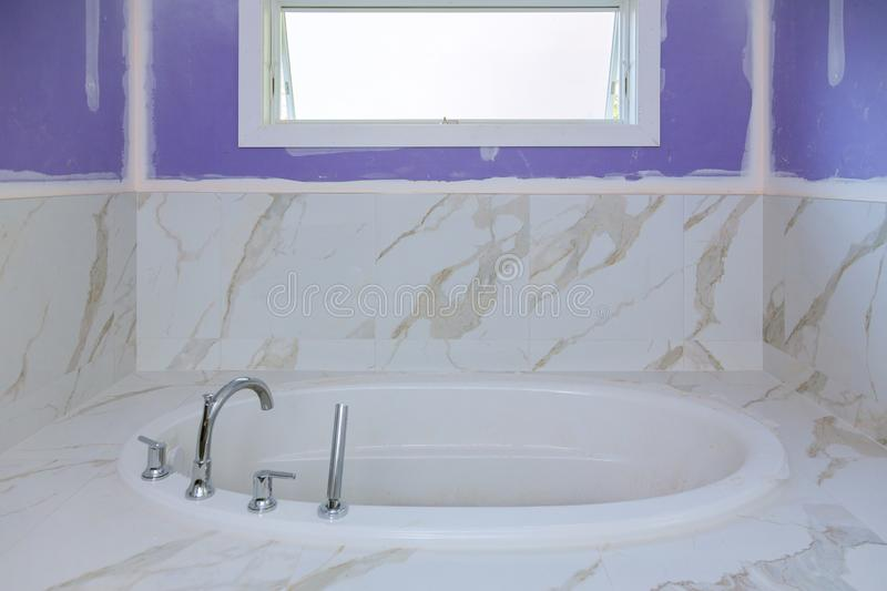Bathroom finishing new apartments installation of plumbing royalty free stock images