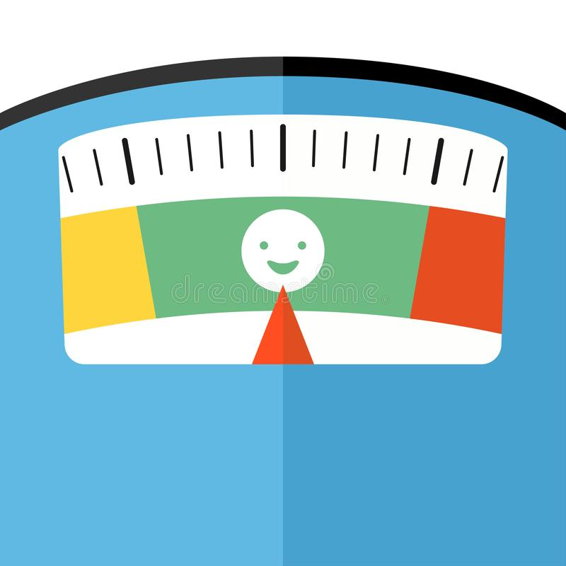 Bathroom floor weight scale close look flat stock illustration