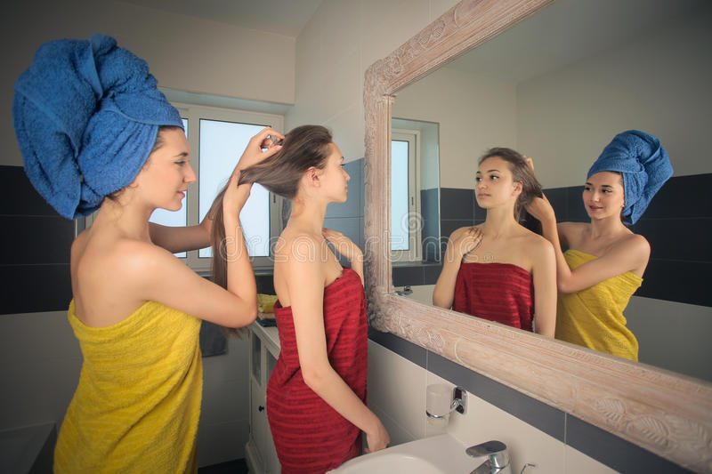 In the bathroom stock photography