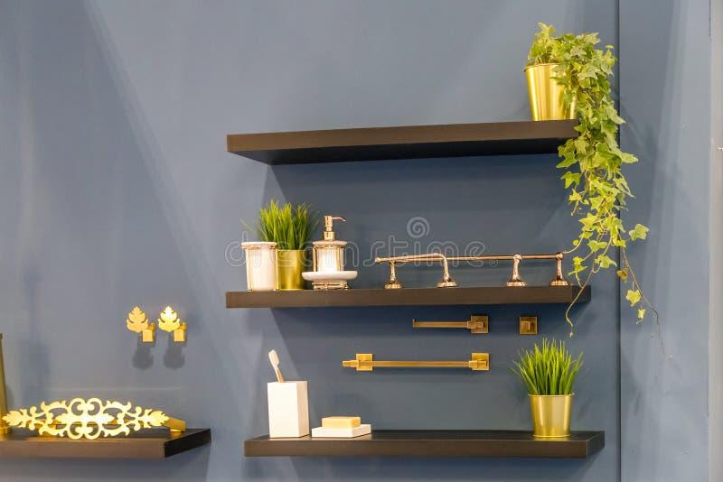 Bathroom golden accessories stock image