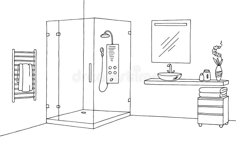 Bathroom Graphic Interior Black White Sketch Illustration ...
